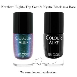 "726 ""Northern lights"" ultra holograficzny top coat + Mystic Black"